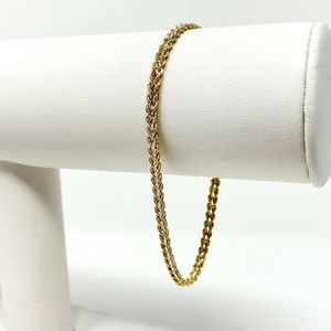 14k Gold 3.5mm Double Rope Chain Bracelet 7.25""